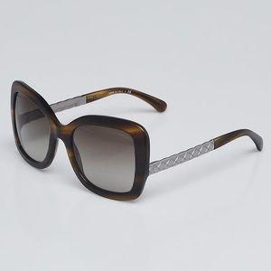 New Chanel Green Tortoise Shell Cat Eye Sunglasses